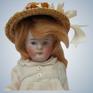 Adorable German All Bisque Doll with Swivel Neck