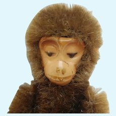 Adorable Little Miniature Vintage Mohair Schuco Monkey with a Painted Metal Face