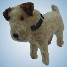 "Adorable Vintage Well Loved Mohair Terrier Dog with Jointed Neck Nice Large 10-1/2"" Size"
