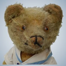 Adorable Well Loved Vintage Pre-War American Mohair Stick Teddy Bear