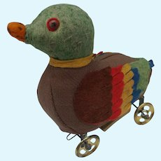 Nice Early German Felt and Cloth Duck on Wheels Pull Toy