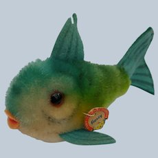 Adorable Little Vintage Steiff Blue Mohair Flossy Fish with ID