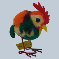 Lovely Little Steiff Woolen Pom Pom Rooster with ID and Metal Legs 1949-1958