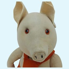 Fabulous Early Vintage Merrythought Velveteen Comic Pig with ID Label