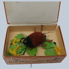 Unusual Little Steiff Woolen Pom Pom Beetle Bug in Early German Bug Box