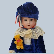 "Antique German Bisque Head Doll Nice 11-1/2"" Size in Blue Velvet Outfit DEP Recknagel"