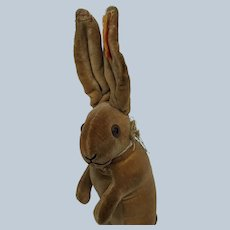 Fabulous Early Steiff Begging Velveteen Bunny Rabbit with FF Button and Red Tag