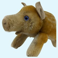 Wonderful Little Vintage Mohair Steiff Pig or Boar No ID
