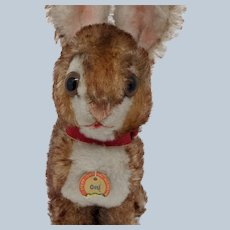 Adorable Vintage Steiff Ossi Bunny Rabbit with Partial Paper Tag