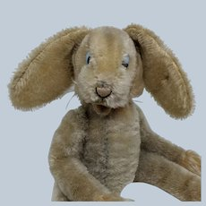 Comical Vintage Steiff Mohair Lulac Bunny Rabbit Fully Jointed with Button in Ear