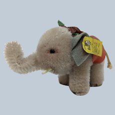 Adorable Little Vintage Steiff Mohair Elephant with Blanket and ID
