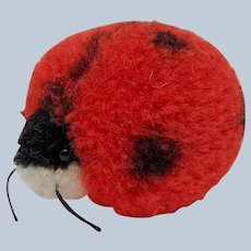Adorable Little Vintage Steiff Woolen Pom Pom Lady Bug No ID