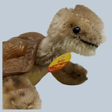 Cute Little Vintage Steiff Mohair Slo Turtle with ID