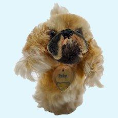 Adorable Little Vintage Steiff Peky Pekingese Dog with ID