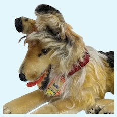 Lovely Vintage Mohair Steiff Collie Dog with ID
