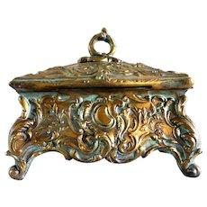 Vintage gilded French Napoleon III era small jewel box in bearing metal