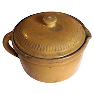 Antique Round Yellow Glazed Tureen