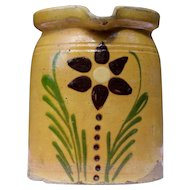 Alsatian traditional milk pitcher yellow glazed pottery