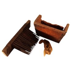 Antique 18th Century German Flax Heckle Hemp Comb