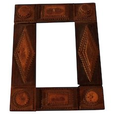Little Antique French Chip Carved Frame Tramp Art