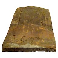 French 17th Century Roof Tile in Clay Dated 1688