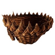 Vintage Primitive French Straw Bread Basket