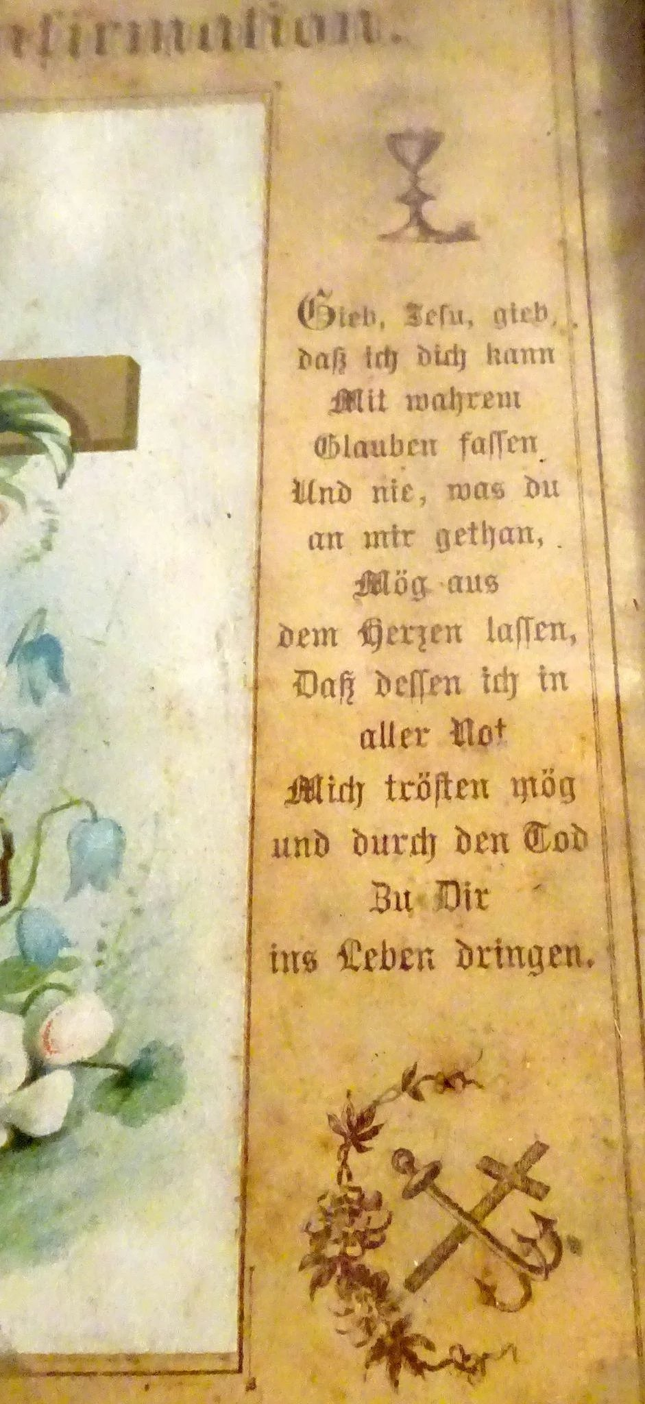 End Of The 19th Century German Confirmation Certificate Alsace