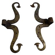 18th Century Acanthus Leave Wrought Iron Hinges
