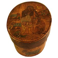 Antique German Painted Wood Box 19th Century