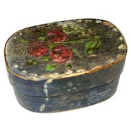 Antique German Miniature 19th Century Painted Wood Box