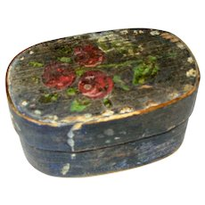 Antique German Miniature 19th Century Painted Wood Box