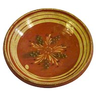 19th Century Alsatian Naive Orange Glazed Platter