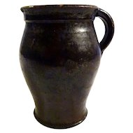 German 19th Black Glazed Terra Cotta Pitcher