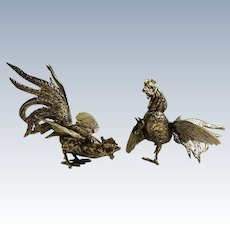 Vintage Pair of Fighting Roosters Silver Plate