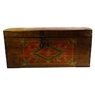 19th Century Hand Painted Wooden Chest