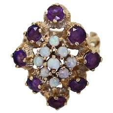14K 4.25cw Retro Color Change Tanzanite Opal Marquise Cluster Cocktail Ring c 1950 - 1960