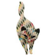 Lea Stein France Harlequin Mosaic Bacchus Standing Cat Brooch/Pin c1990s