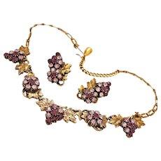 Suite Grapevine Rhinestone Gold-tone Necklace Clip Earrings c1960s