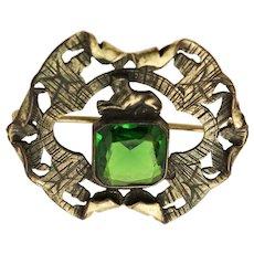 RARE George Steere CO. Egyptian Motif Green Stone Sash Pin / Brooch c1906 - 1911