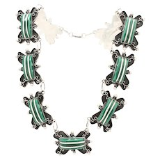 Vintage Mexico Ornate Chrysoprase Sterling Silver Necklace c1940s