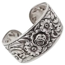Early Antique S.KIRK &SON Floral Baltimore Style Repousse Sterling Cuff c1846 - 1896