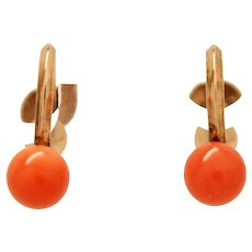 Mikimoto Salmon Coral 585 14K Gold Screw Back Earrings c1930s