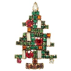 (Book Piece) Weiss 5 Candle Christmas Tree Brooch Pin c1960s
