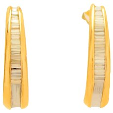 14K Y&W Gold Diamond Baguettes Half  Hoop Stud Earrings c1970-90