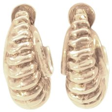 Early Mexican Silver Puffy Shrimp Screw Back Earrings c1940s