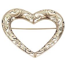 Large Jezlaine Pierced Sterling Silver Heart Brooch Pin c1970-80s