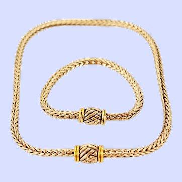 Suite Byzantine Braided Silver Plate 12K Gold Plate Necklace Bracelet c1990s