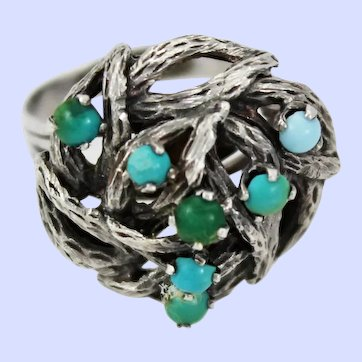Taxco Brutalist Turquoise Sterling Silver Ring Size 9.25 c1950-70s