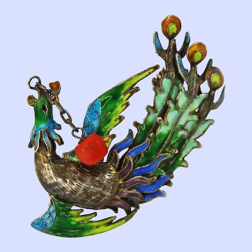 Art Deco Chinese Export Cloisonne Phoenix 900 Silver Coral Brooch Pin c1920-30s