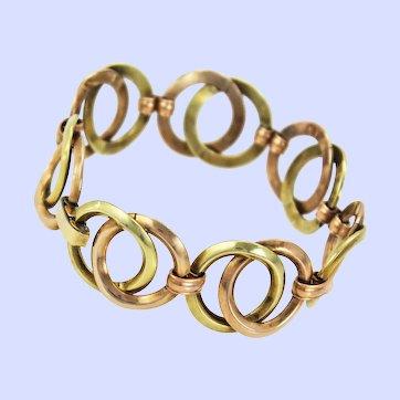 Krementz Art Deco Rose Yellow Gold Overlay Circle Link Bracelet c1930s